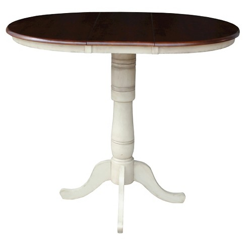 "Round Top 36"" Pedestal Table with 12"" Leaf Wood/Antiqued Almond & Espresso - International Concepts - image 1 of 1"