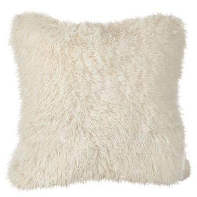 Ivory Juneau Classic Faux Fur Throw Pillow (18 )- Saro Lifestyle®