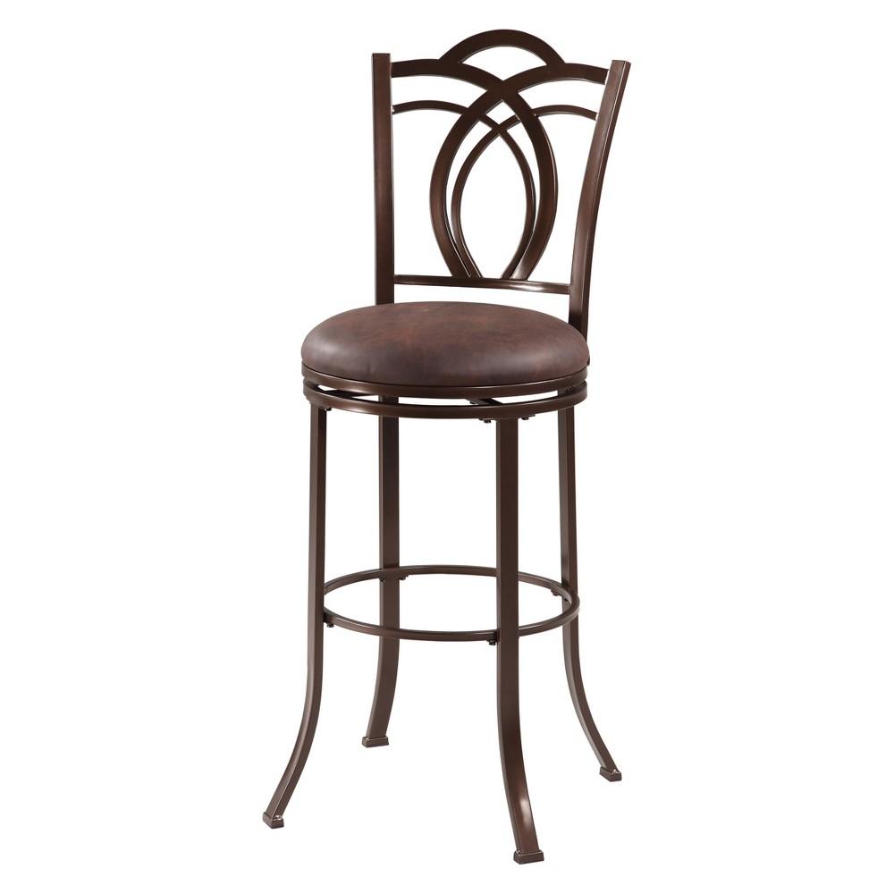 29 Calif Bar Stool Upholstered Seat - Brown Metal - Linon