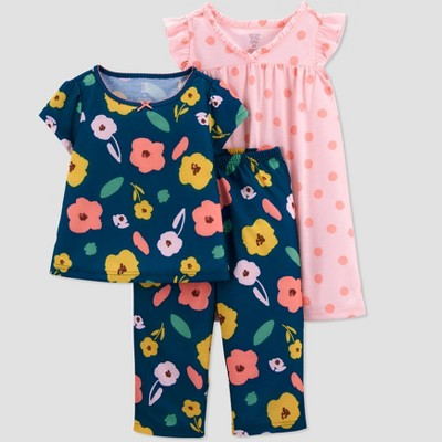 Toddler Girls' 3pc All Door Floral Dot Pajama Set - Just One You® made by carter's Blue/Pink