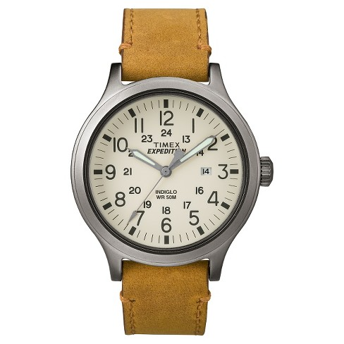 21c000a759a2 Men s Timex Expedition® Scout Watch With Leather Strap - Silver Tan  TW4B06500JT   Target