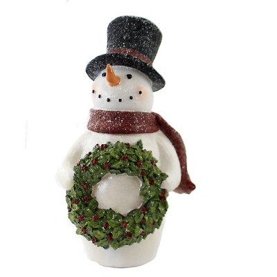 """Christmas 14.75"""" Led Snowman With Wreath Holiday Lighted Decor Holly  -  Decorative Figurines"""