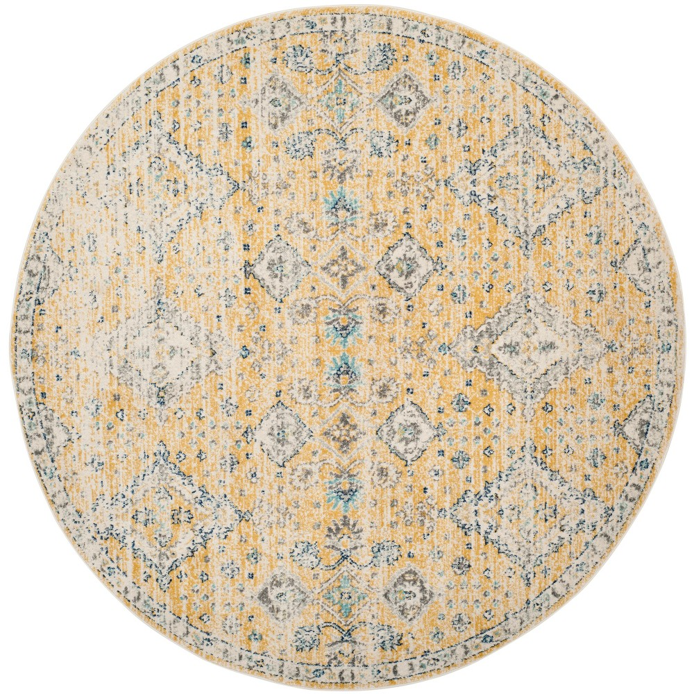 6'7 Medallion Round Area Rug Gold/Ivory - Safavieh