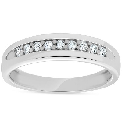 Pompeii3 Mens 1/4ct Diamond Wedding Ring 10k White Gold Anniversary Band