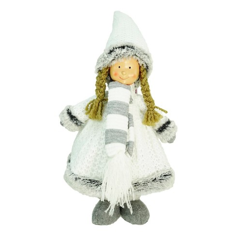 """Northlight 13"""" Decorative Gray and White Wintry Girl Christmas Table Top Figure - image 1 of 3"""