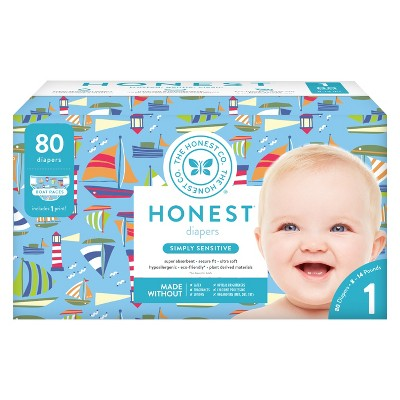 Honest Company Club Pack Diapers, Boat Races - Size 1 (80ct)