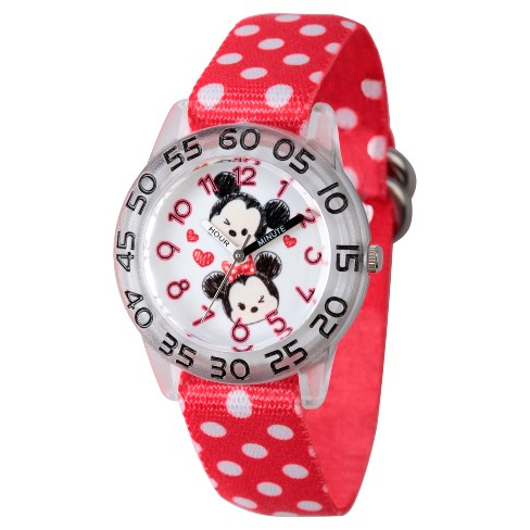 Girls' Disney Tsum Tsum Mickey Mouse and Minne Mouse Clear Plastic Time Teacher Watch - Red - image 1 of 2