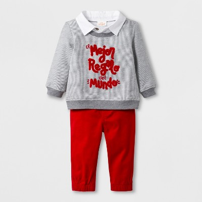 Baby Boys' 2pc French Terry Sweatshirt and Twill Joggers - Cat & Jack™ Red Newborn