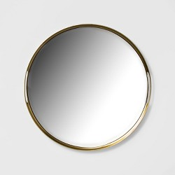 """16"""" x 5.5"""" Decorative Mirror Metal Tray with Handles Gold - Project 62™"""