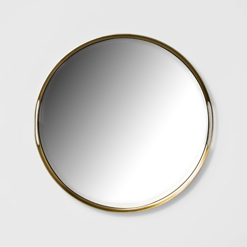 """16"""" x 5.5"""" Decorative Mirror Metal Tray with Handles Gold - Project 62™ - image 1 of 2"""