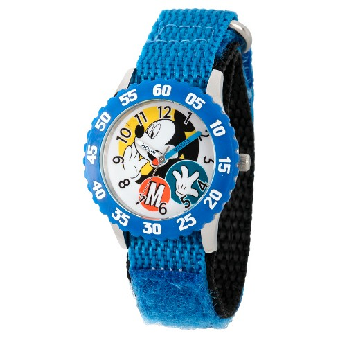 Disney Mickey Mouse Boys' Stainless Steel Time Teacher Watch, Blue Bezel, Blue Hook and Loop Nylon Strap, WDS000156 - image 1 of 2