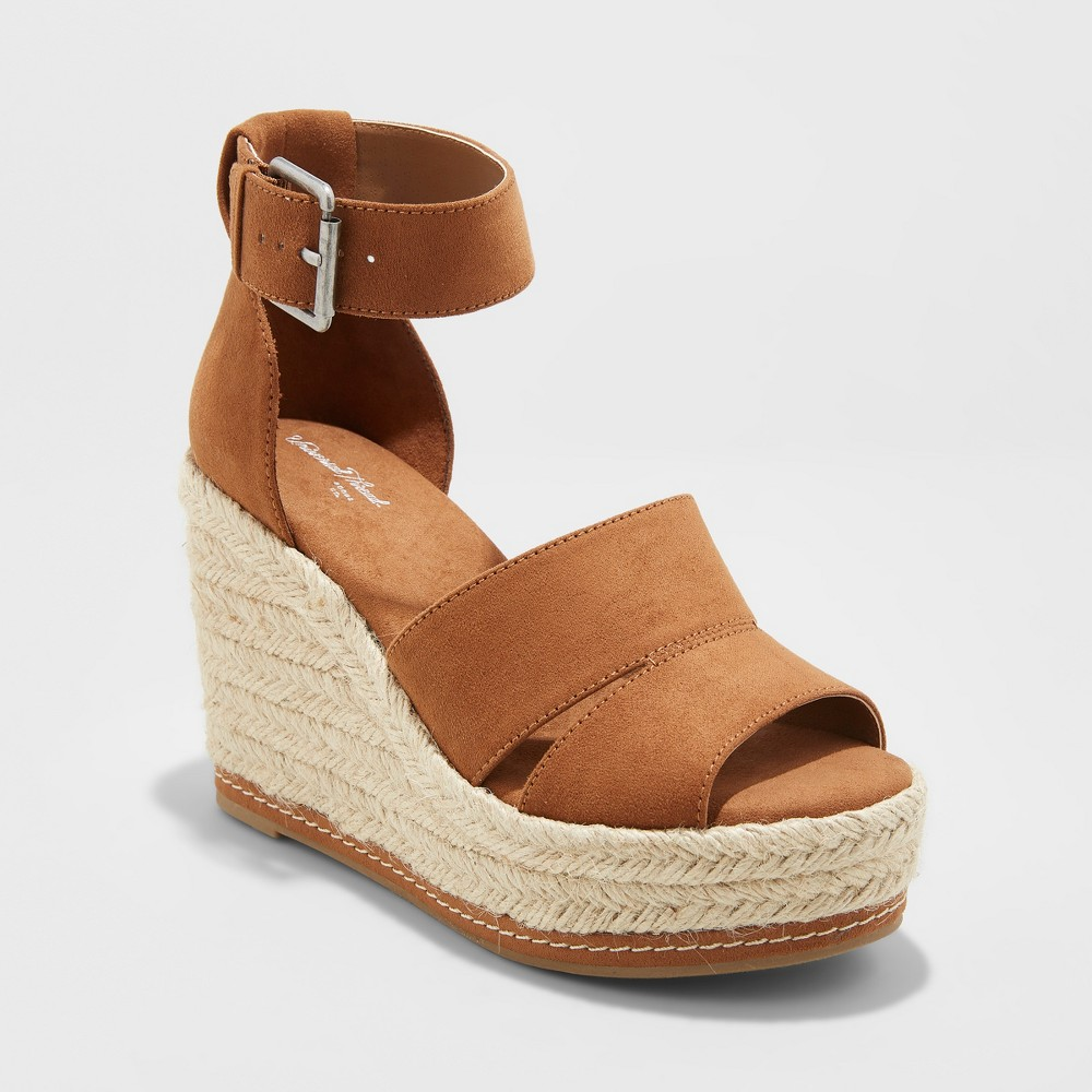 Women's Caroline Microsuede Ankle Strap Espadrille Wedge - Universal Thread Cognac (Red) 7.5