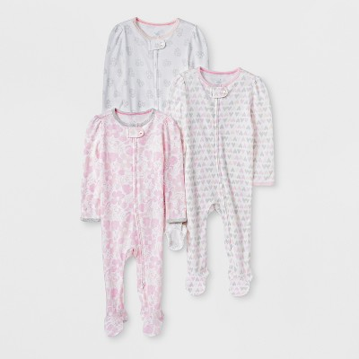 Baby Girls' 3pk Print Zip Sleep 'N Play - Cloud Island™ Pink/Gray Newborn
