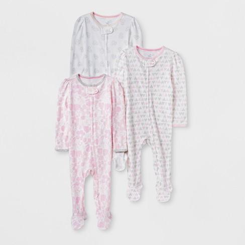Baby Girls' 3pk Print Zip Sleep 'N Play - Cloud Island™ Pink/Gray - image 1 of 1