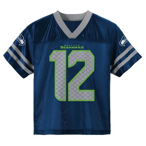 80116e5e NFL Seattle Seahawks Boys' Fan 12 Jersey - S