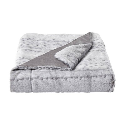"60""x70"" Faux Fur Throw Blanket Light Gray - Yorkshire Home"