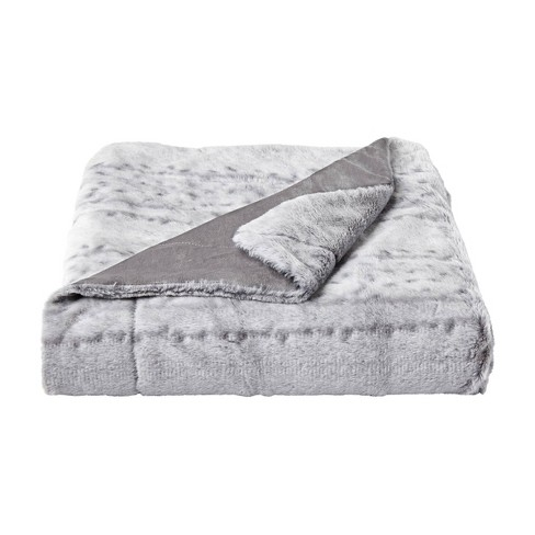 """60""""x70"""" Faux Fur Throw Blanket Light Gray - Yorkshire Home - image 1 of 4"""