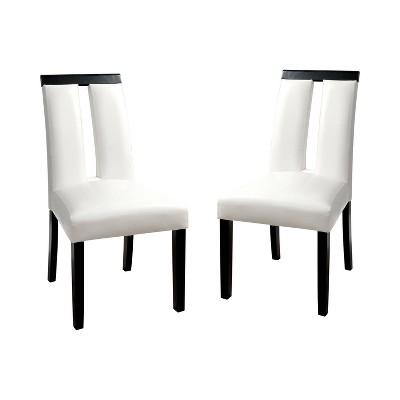 Set of 2 StevensonWhite Leatherette Padded Open Slit Back Chair Black/White - HOMES: Inside + Out
