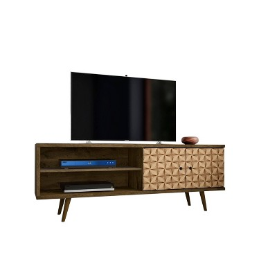 62.99  Liberty Mid Century Modern TV Stand with 2 Shelves and 2 Doors 3D Prints Rustic Brown - Manhattan Comfort