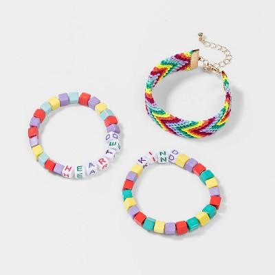 Girls' 3pk Rainbow Kind Hearted Beaded Bracelet Set - Cat & Jack™