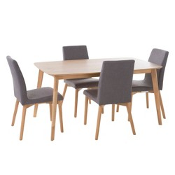 "Orrin 60"" 5 - Piece Dining Set - Natural Oak/Dark Gray - Christopher Knight Home"