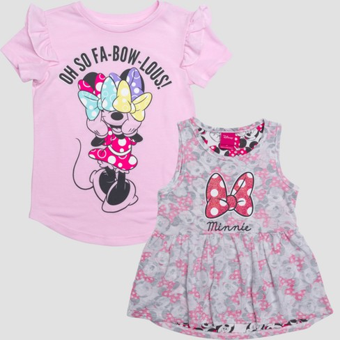 2a6d0827f45f Toddler Girls' Disney Mickey Mouse & Friends Minnie Mouse Fabowlous Short  Sleeve T-Shirt - Pink Heather : Target