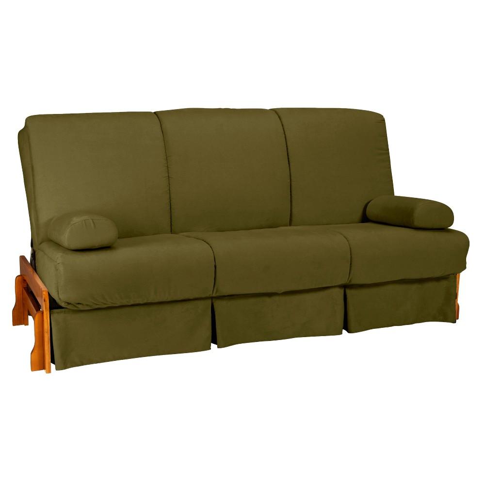 Low Arm Perfect Futon Sofa Sleeper - Oak Wood Finish - Epic Furnishings, Olive Green