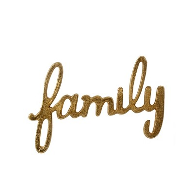 Family  Script Metal Words Decorative Wall Sculpture Light Gold - Threshold™