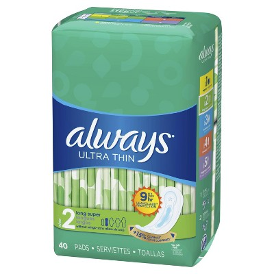 Always Ultra Thin Non-Wing Pads - Size 2 - 40ct