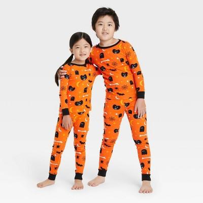 Toddler Halloween Spooky Print Matching Family Pajama Set - Orange