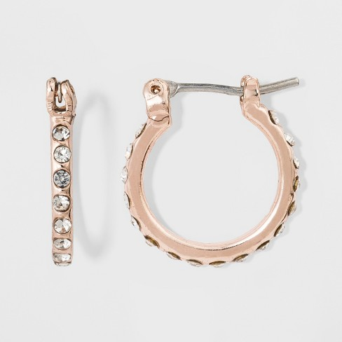 Women's Hoop Earrings with Stones - Rose Gold - image 1 of 1