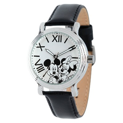 Women's Disney Mickey and Minnie Shinny Vintage Articulating Watch with Alloy Case - Black