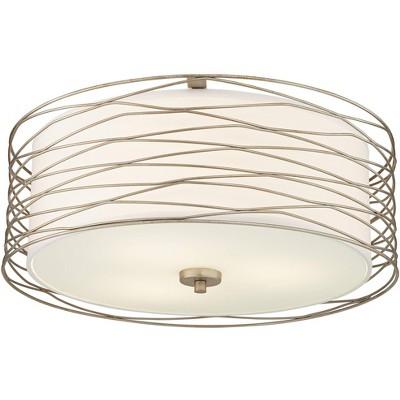 "Possini Euro Design Modern Ceiling Light Flush Mount Fixture Antique Silver Leaf 18"" Wide Wavy Spun White Drum for Bedroom Kitchen"