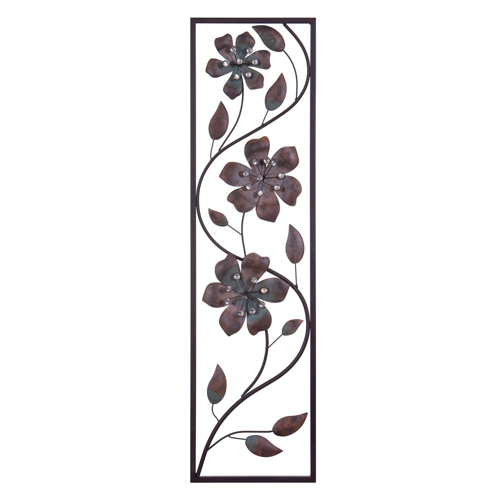 "Image of ""10""""x36"""" Bronze Jeweled Flower Vine Decorative Metal Wall Decor Bronze - Patton Wall Decor, Yellow"""
