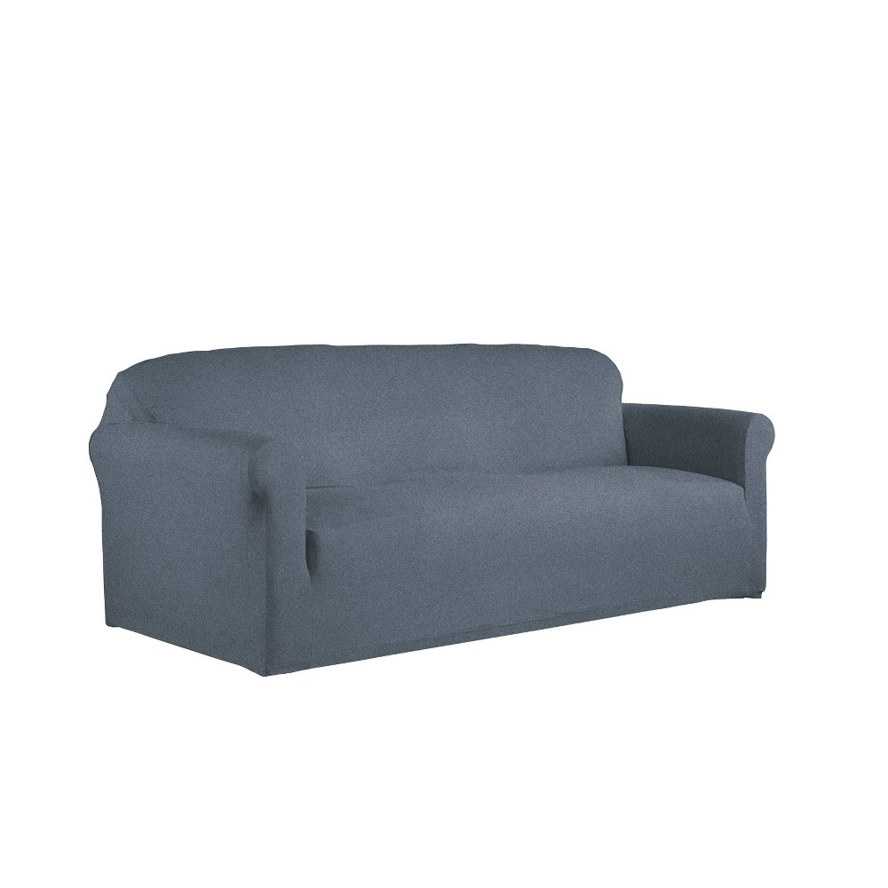Image of 1pc Sofa Box Reversible Stretch Suede Slipcover Alloy/Blue - Serta