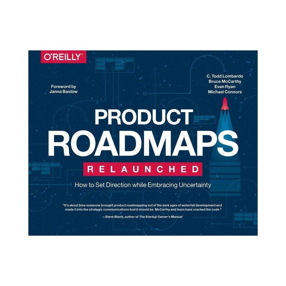 Product Roadmaps Relaunched - by C Todd Lombardo & Bruce McCarthy & Evan Ryan & Michael Connors C. Todd Lombardo wears many hats, all at once: author, designer, scientist, professor, and visualizer. After beginning his career in science, C. Todd shifted his focus to product and design, ultimately innovating, designing, and managing products for countless companies large and small. In his role as Chief Design Strategist at Fresh Tilled Soil, he employs strategic thinking to craft smart, impactful solutions that radically transform clients' product strategies. C. Todd serves as Adjunct Faculty at IE business School in Madrid, where he teaches courses on design in business and data visualization. Bruce McCarthy is CEO of UpUp Labs and President of the Boston Product Management Association. Having spent a lifetime as a builder and innovator, Bruce has a passion for helping cross-functional product development teams work better together to deliver great products to market faster. Bruce is an internationally- recognized thought -leader and sought- after speaker on product roadmapping and prioritization. Bruce and his team work with companies such as Vistaprint, Localytics, Zipcar, Johnson and Johnson, and Huawei,?providing coaching, mentoring, and tools such as R?eqqs?, the simple, affordable roadmapping tool, and Awesomeness,?a tool for measurably enhancing team effectiveness. Evan is seasoned entrepreneur and product leader who has brought dozens of products from concept to market for both consumer and enterprise audiences. As a founder, his companies have served a diverse variety of organizations, from startups, to nonprofits, to Fortune 500 companies, including Apple, Deloitte, Chevron, Sonos, Stanfor?d University, and others. Currently, Evan operates as Director of Product for Wayfair where he leads find and navigation, working with a sophisticated personalization and machine learning initiative to anticipate customer needs and break the mold on the merce experience.