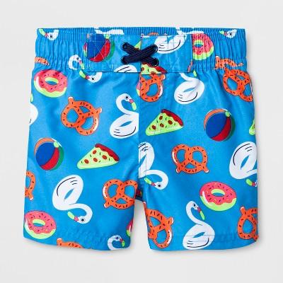 Baby Boys' Pizza and Pretzel Swim Trunks - Cat & Jack™ Blue 12M