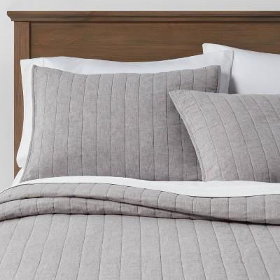 Gray Chambray Linen Blend Quilt (King)- Threshold™