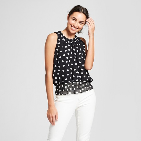1c09966d6a3 Women s Sleeveless Blouse With Smocked Waist - Eclair Black White ...