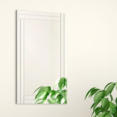 24 x36  Frameless Stepped Beveled Edge Wall Mirror Silver - Gallery Solutions