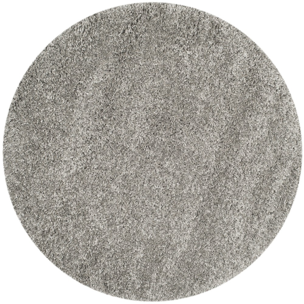 5'3 Solid Loomed Round Area Rug Light Gray - Safavieh, Silver