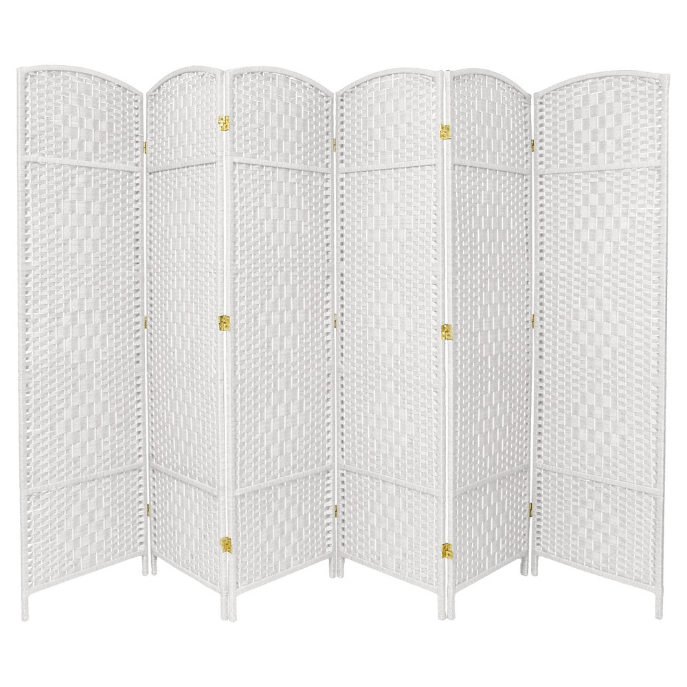 7 ft. Tall Diamond Weave Room Divider - White (6 Panels)