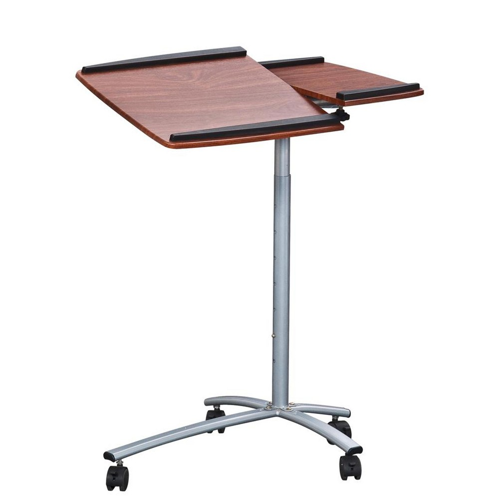 Sit To Stand Rolling Adjustable Laptop Cart Brown - Techni Mobili