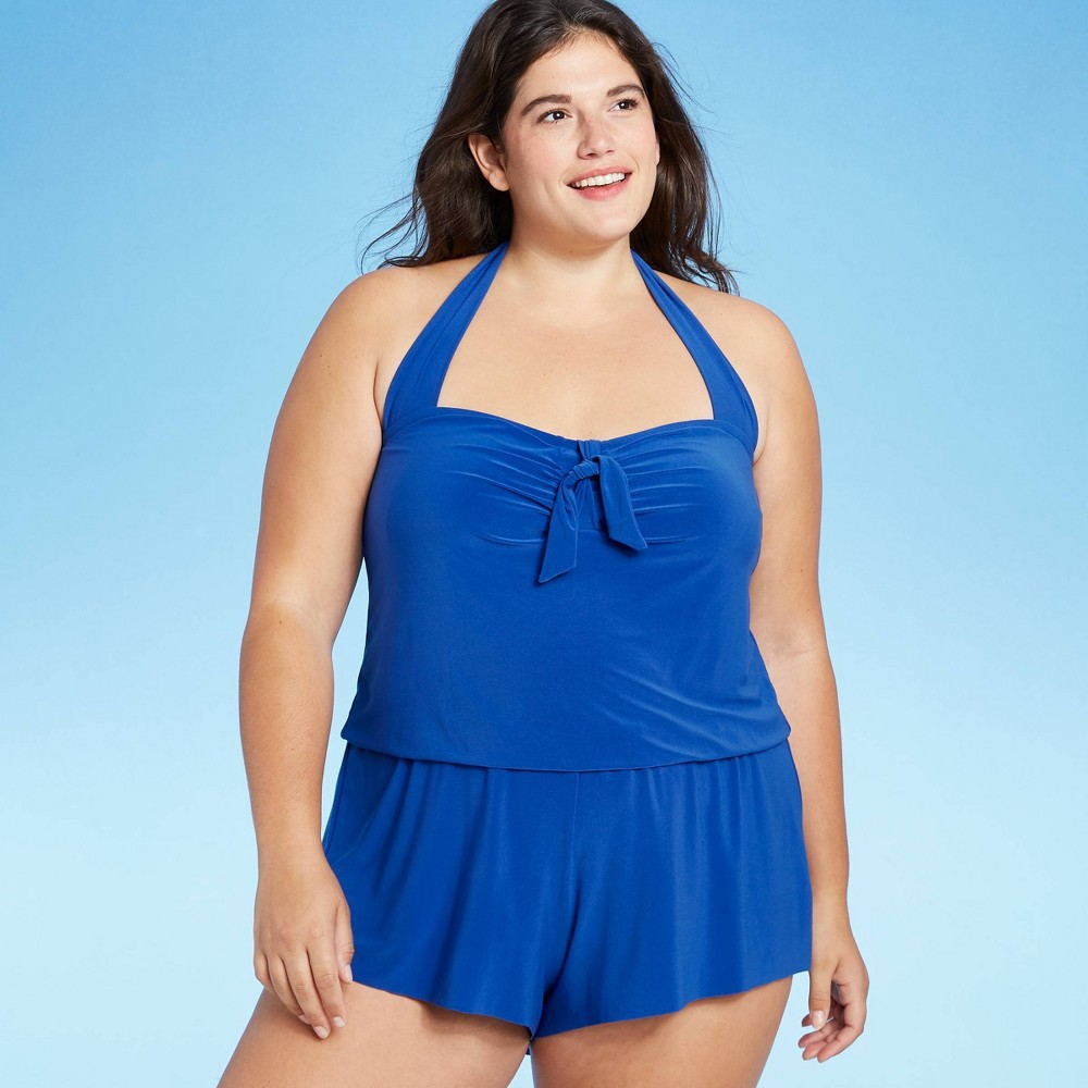 Vintage Bathing Suits | Retro Swimwear | Vintage Swimsuits Womens Plus Size High Neck Swim Romper with Pockets - Aqua Green Blue 26W $42.99 AT vintagedancer.com