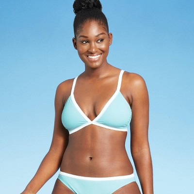 Juniors' Ribbed Colorblock Trilette Bikini Top - Xhilaration™ Ice Blue