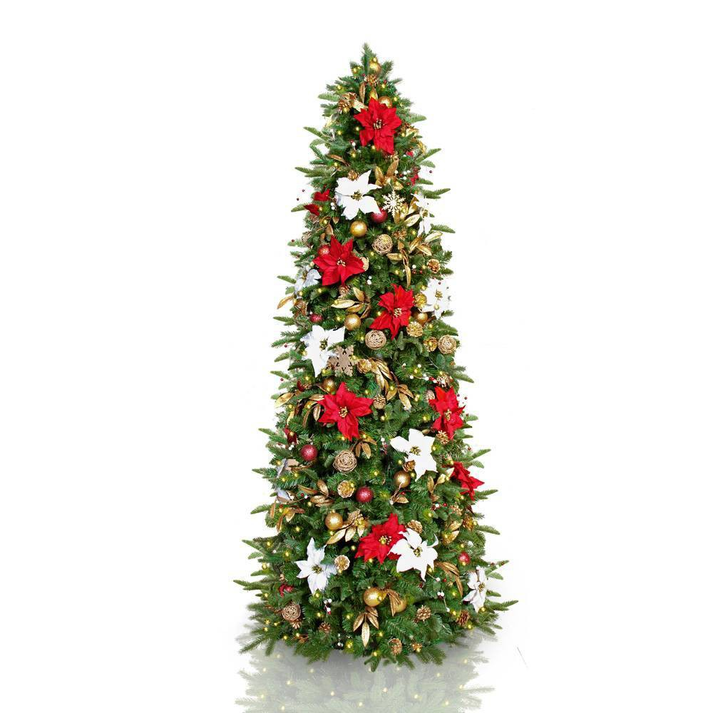 Image of 7.5ft Pre-lit and Pre-decorated LED Slim Red/Gold/White Classic Artificial Christmas Tree - Easy Treezy, Green