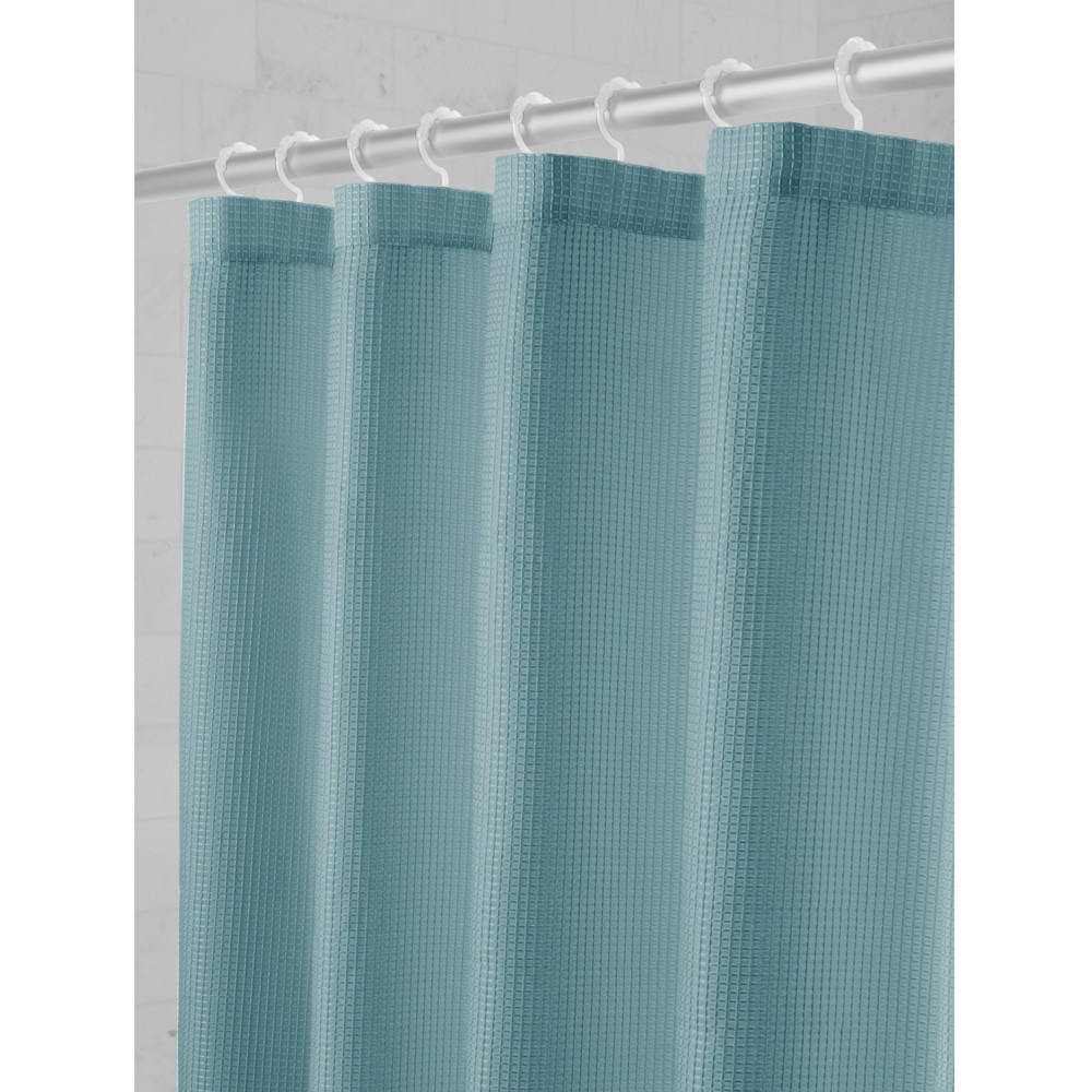 Smart Shower Curtains Waffle Fabric With Attached Hooks Mineral - Maytex