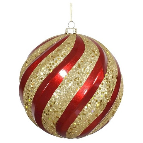 "6"" Red/Gold Glitter/Swirl Ball Christmas Ornament - image 1 of 1"
