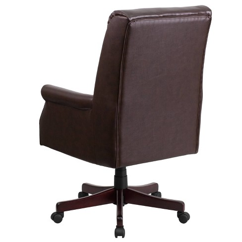 High Back Pillow Brown Leather Executive Swivel Office Chair Flash Furniture