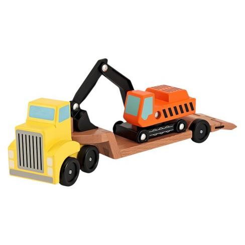 Melissa & Doug Trailer and Excavator Wooden Vehicle Set (3pc) - image 1 of 4